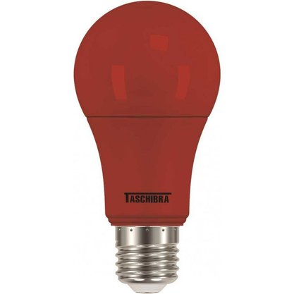 LAMPADA BULBO LED 5W VERMELHA E27 TASCHIBRA