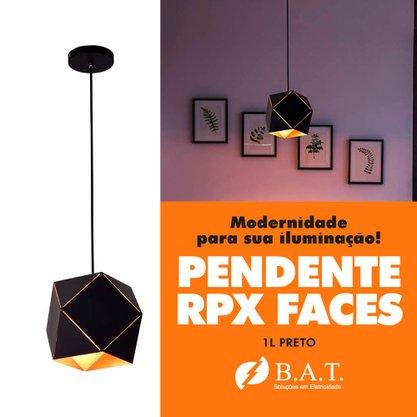 PENDENTE RPX FACES 1L PRETO